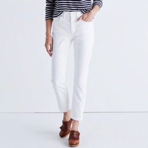 MADEWELL - Straight Cropped White Jeans - Size 32